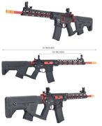 Lancer Tactical M4 Enforcer Series BLACKBIRD Skeleton Airsoft Gun AEG with MOSFET and Alpha Stock in Red LT-30BCR-G2-ME