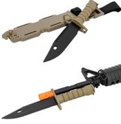 Lancer Tactical M9 Rubber Blade Training Bayonet with Sheath for M4 or M16 Airsoft Guns in Tan CA-07T