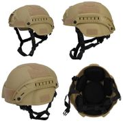 Lancer Tactical MICH 2000 SF Type NVG Airsoft MilSim Railed Helmet in Tan CA-380T