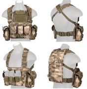 Lancer Tactical Airsoft MilSim Modular Chest Rig Vest with Hydration Bladder in AT-FG Camo CA-307FN