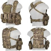 Lancer Tactical Airsoft MilSim Modular Chest Rig Vest with Hydration Bladder in Tropical Camo CA-307MTN