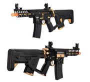 Lancer Tactical NeedleTail M4 CQB Skeleton Enforcer Series Proline Airsoft AEG with MOSFET and Alpha Stock in Gold LT-29BCG-G2-ME