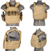 Lancer Tactical Airsoft MilSim Nylon 69T4 MOLLE Plate Carrier Vest in Tan CA-311TN