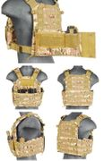 Lancer Tactical Airsoft MilSim Nylon 69T4 MOLLE Plate Carrier Vest with Triple Inner Mag Pouch in Modern Land Camo CA-311C2N
