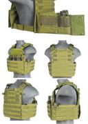 Lancer Tactical Airsoft MilSim Nylon 69T4 MOLLE Plate Carrier Vest with Triple Inner Mag Pouch in OD Green CA-311G2N