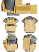 Lancer Tactical Airsoft MilSim Nylon 69T4 MOLLE Plate Carrier Vest with Triple Inner Mag Pouch in Tan CA-311T2N