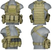 Lancer Tactical Airsoft MilSim Modular Chest Rig Vest with Hydration Bladder in OD Green CA-307GN