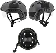 Lancer PJ Type MilSim Advanced Tactical Railed Helmet ATH with Visor in Black CA-740B