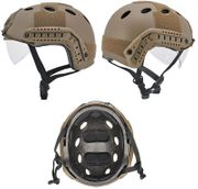 Lancer PJ Type MilSim Advanced Tactical Railed Helmet ATH with Visor in Dark Earth CA-740T