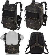 Lancer Tactical QD MOLLE Chest Rig with Built in Operators Survival Backpack in Dark Night Land Camo CA-1615MBN