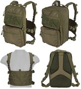 Lancer Tactical QD MOLLE Chest Rig with Built in Operators Survival Backpack in OD Green CA-1615GN