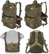 Lancer Tactical QD MOLLE Chest Rig with Built in Operators Survival Backpack in Tropical Modern Land Camo CA-1615MTN