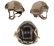 Lancer Tactical Sentry Style Airsoft MilSim Railed Helmet in Tan Med/L CA-876MT