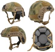 Lancer Tactical Airsoft MilSim Simple Version Maritime ATH Railed Helmet in AT-FG Green Foliage Camo CA-849A