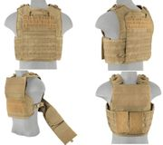 Lancer Tactical Soldiers Battle 1000D Nylon Tactical MOLLE Plate Carrier Vest in Tan CA-1850GTN