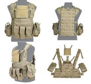 Lancer Tactical Airsoft MilSim Modular Chest Rig Vest with Hydration Bladder in Khaki CA-307KN