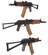 LCT Russian AKS74U Airsoft Gun with Real Wood Foregrip & Side Folding Stock LCT-LCKS74UN-AEG