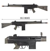 LCT LC-3A3 G3 HK 91 92 93 94 Style Full Size Airsoft Gun AEG with Steel Receiver in OD Green