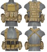 Lancer Tactical Airsoft MilSim Modular Chest Rig Vest with Hydration Bladder in Modern Land Camo CA-307CN
