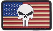 Punisher Skull US Flag PVC Airsoft Milsim Hook and Loop Morale Patch