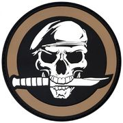 PVC Mercenary Military Skull and Knife Airsoft Milsim Hook and Loop Morale Patch