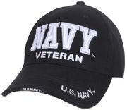 Deluxe Navy Veteran Embroidered Low Profile Baseball Hat Cap