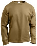 Rothco ECWCS Poly Crew Neck Long Sleeve Top Shirt Polyester in Coyote Brown