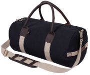 Rothco Leather and Canvas Gym Duffle Bag with Straps in Black