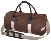 Rothco Leather and Canvas Gym Duffle Bag with Straps in Dark Earth Brown
