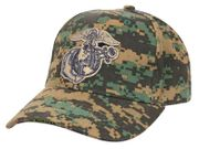 Marine Corps Globe and Anchor Deluxe Low Profile Baseball Hat Cap in Woodland Digital Marpat Camo
