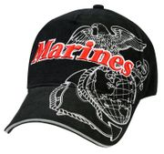 Marines with Globe and Anchor Deluxe Low Profile Baseball Hat Cap in Black