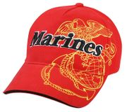 Marines with Globe and Anchor Deluxe Low Profile Baseball Hat Cap in Red