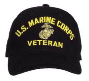 U.S. Marine Corps Veteran with Globe and Anchor Embroidered Insignia Baseball Hat Cap