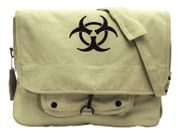 Rothco Vintage Canvas Paratrooper Messenger Bag with Bio Hazard Outbreak Symbol