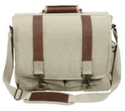 Rothco Vintage Canvas Pathfinder Laptop Carry Bag with Leather Accents in Khaki