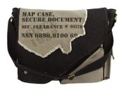 Rothco Vintage Canvas Two Tone Grey Black Imprinted Map Case Secure Documents Messenger Bag