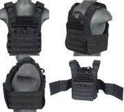 Lancer Tactical Airsoft MilSim SAPC Speed Attack Plate Carrier with Dual Inner Mag Pouch and Removable Shoulder Pads in Black CA-313BN