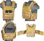 Lancer Tactical Airsoft MilSim SAPC Speed Attack Plate Carrier with Dual Inner Mag Pouch and Removable Shoulder Pads in Modern Land Camo CA-313C2