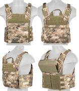 Lancer Tactical Airsoft MilSim SAPC Speed Attack Plate Carrier with Removable Shoulder Pads and Removable Cummerbund in ATFG Camo CA-313F