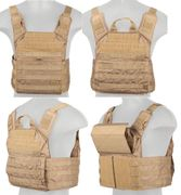 Lancer Tactical Airsoft MilSim SAPC Speed Attack Plate Carrier with Removable Shoulder Pads and Removable Cummerbund in Coyote Brown CA-313KN