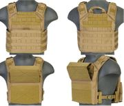 Lancer Tactical Airsoft MilSim SAPC Speed Attack Plate Carrier with Removable Shoulder Pads and Removable Cummerbund in Coyote Brown CA-313T
