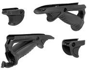 Ergonomic AFG Angled Foregrip with Tactical Thumb Grip / Stop Support & Battery Compartment in Black for Airsoft Guns