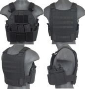 Lancer Tactical Airsoft MilSim SLK Plate Carrier Vest with Side Plate Dual Mag Compartment in Black CA-315B