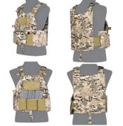 Lancer Tactical Airsoft MilSim SLK Plate Carrier Vest with Side Plate Dual Mag Compartment in Modern Land Camo CA-315C