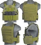 Lancer Tactical Airsoft MilSim SLK Plate Carrier Vest with Side Plate Dual Mag Compartment in OD Green CA-315G