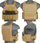 Lancer Tactical Airsoft MilSim SLK Plate Carrier Vest with Side Plate Dual Mag Compartment in Tan CA-315T