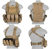Lancer Tactical Airsoft MilSim Modular Chest Rig Vest with Hydration Bladder in Tan CA-307TN