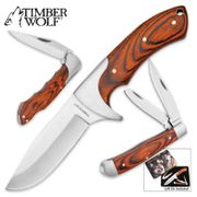Timber Wolf LEADER OF THE PACK Three Knife Set with Collectable Gift Tin Case TW526