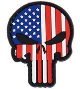 USA Flag Stars and Stripes Punisher PVC Airsoft Milsim Hook and Loop Morale Patch