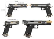 WE-Tech 1911 Hi-Capa T-Rex Competition GBB Gas Blowback Airsoft Gun Training Pistol in Two Tone Silver and Gold